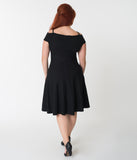 Plus Size Black Stretch Off Shoulder Sleeve Swing Dress