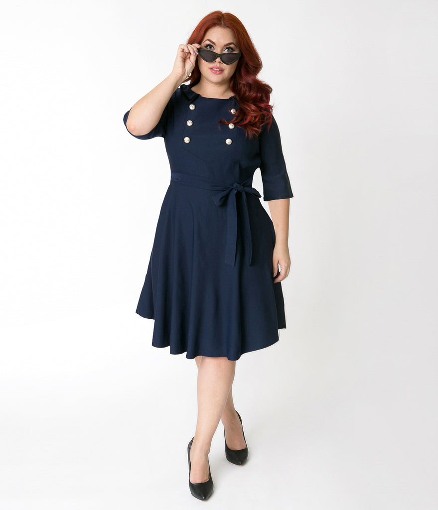 Plus Size Navy Blue Stretch Cotton Half Sleeve Nautical Flare Dress