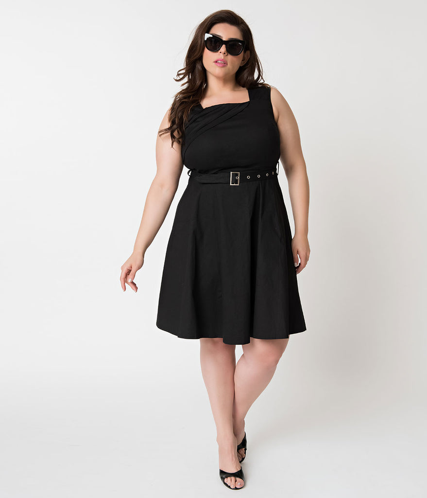 Plus Size Vintage Style Black Sleeveless Cotton Stretch Flare Dress with Belt