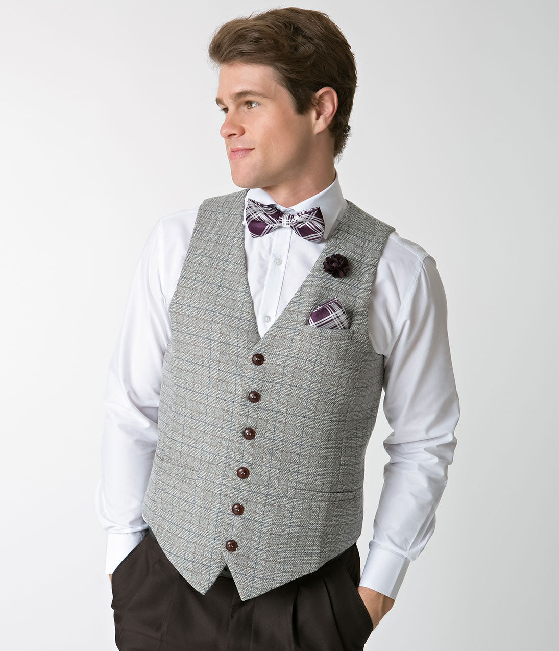 1940s Men's Fashion Clothing Styles Grey Tweed Mens Button Up Vest $58.00 AT vintagedancer.com