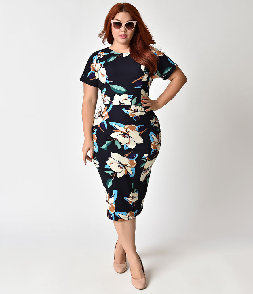 Unique Vintage Plus Size 1960s Style Navy & Magnolia Short Sleeve Mod Wiggle Dress