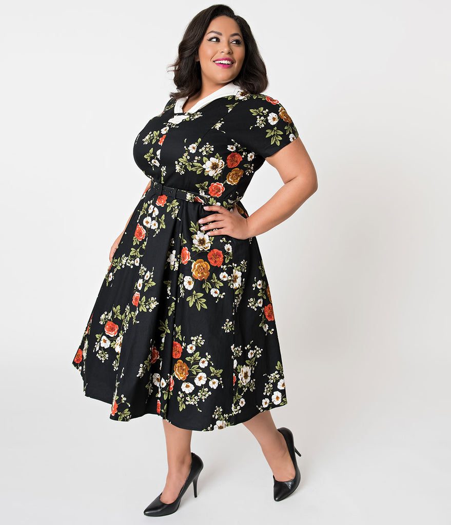 Unique Vintage Plus Size 1940s Black Floral Short Sleeve Campbell Swing Dress