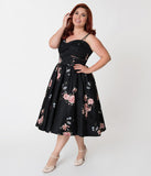 Unique Vintage Plus Size 1940s Black Floral Brushed Cotton Luna Swing Dress & Mesh Capelet