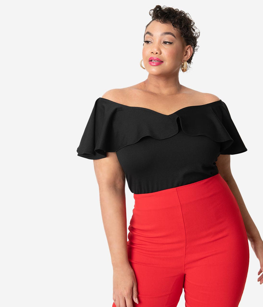 Unique Vintage Plus Size 1950s Black Off Shoulder Ruffle Frenchie Knit Top