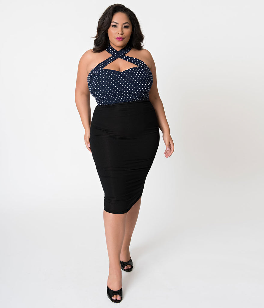 Unique Vintage Plus Size Navy & White Dotted Stretch Rita Cross Halter Top
