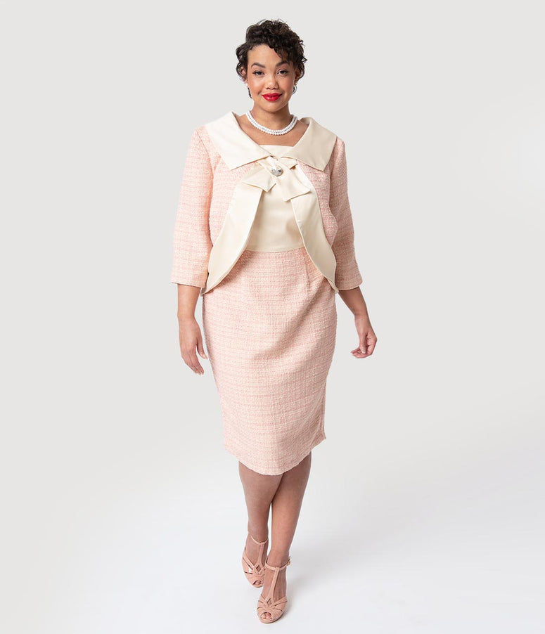 Barbie x Unique Vintage Plus Size Pink Fashion Luncheon Sheath Dress & Jacket