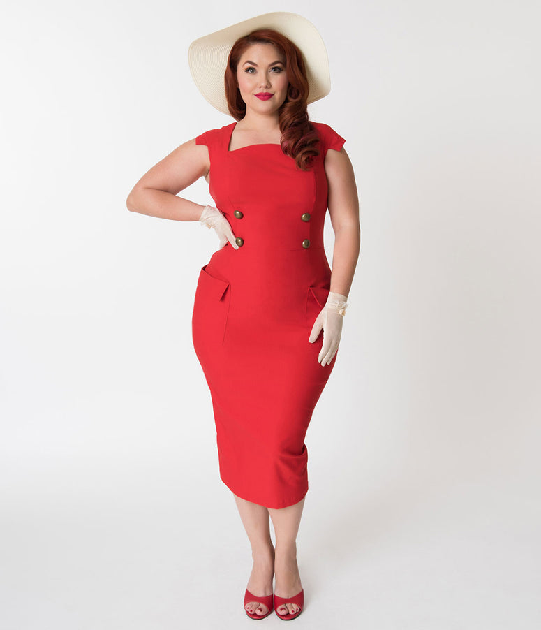 Barbie x Unique Vintage Plus Size Red Sheath Sensation Wiggle Dress