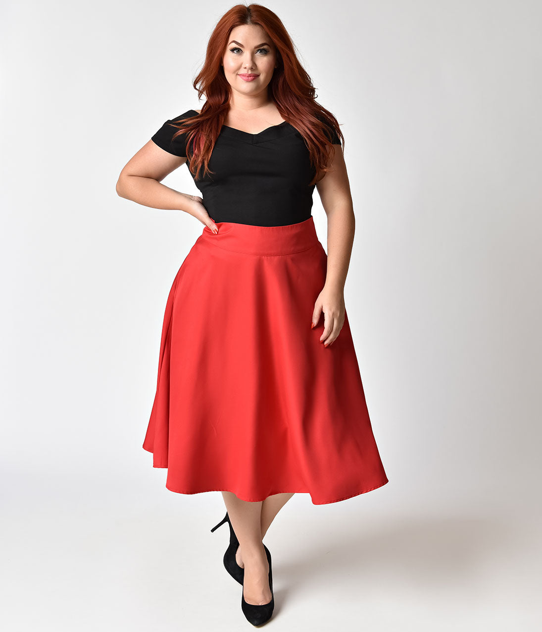 Retro Skirts: Vintage, Pencil, Circle, & Plus Sizes Unique Vintage Plus Size Retro Style Apple Red High Waist Vivien Swing Skirt $39.00 AT vintagedancer.com