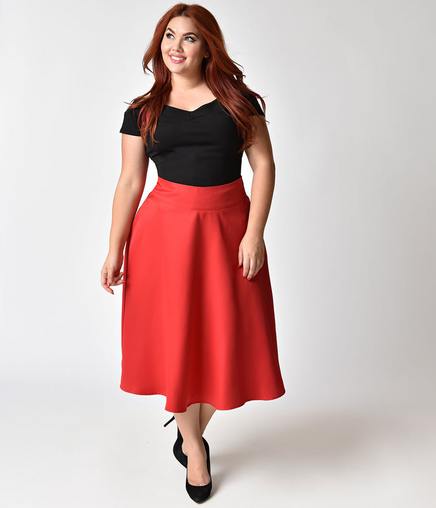 Unique Vintage Plus Size Retro Style Apple Red High Waist Vivien Swing Skirt