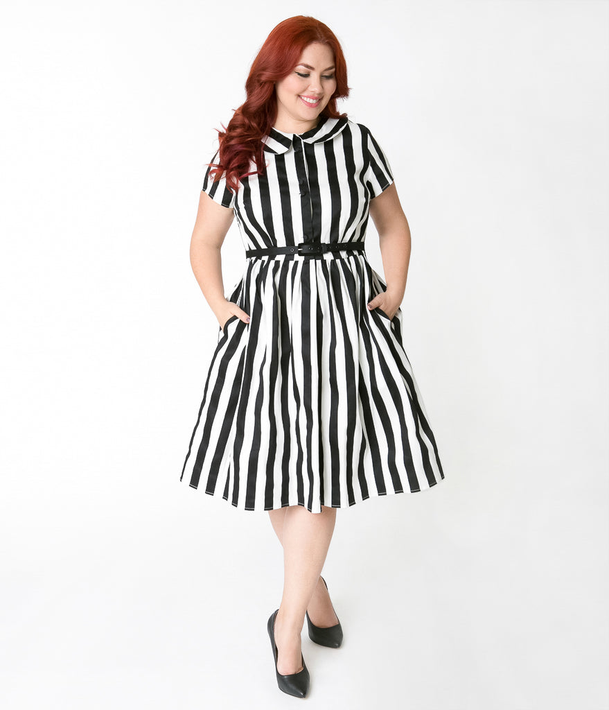 Unique Vintage Plus Size 1960s Style Black & White Striped Regina Shirtdress