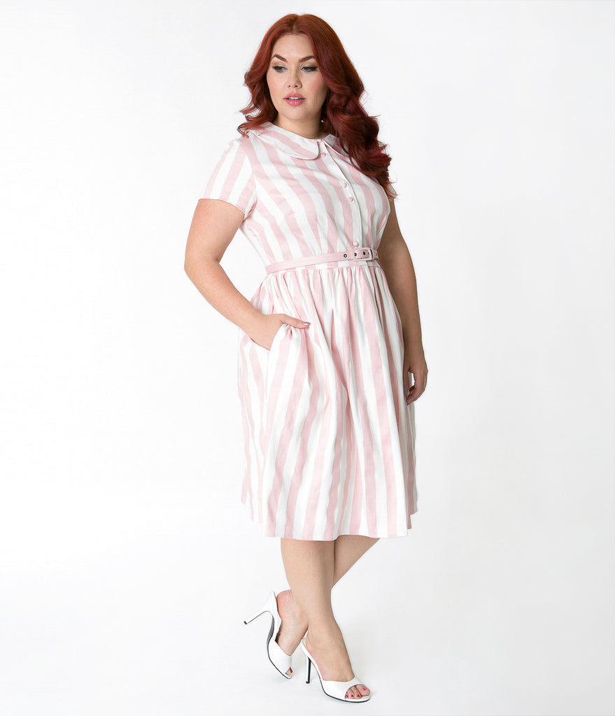 Unique Vintage Plus Size 1960s Style Pink & White Striped Regina Shirtdress
