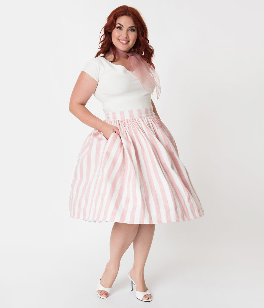 Unique Vintage Plus Size 1950s Light Pink & White Stripe High Waist Swing Skirt