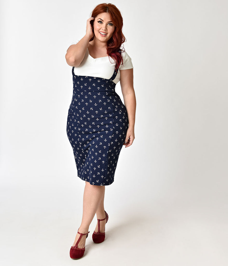 Unique Vintage Plus Size Navy Blue & Anchor Print Sabrina Suspender Skirt