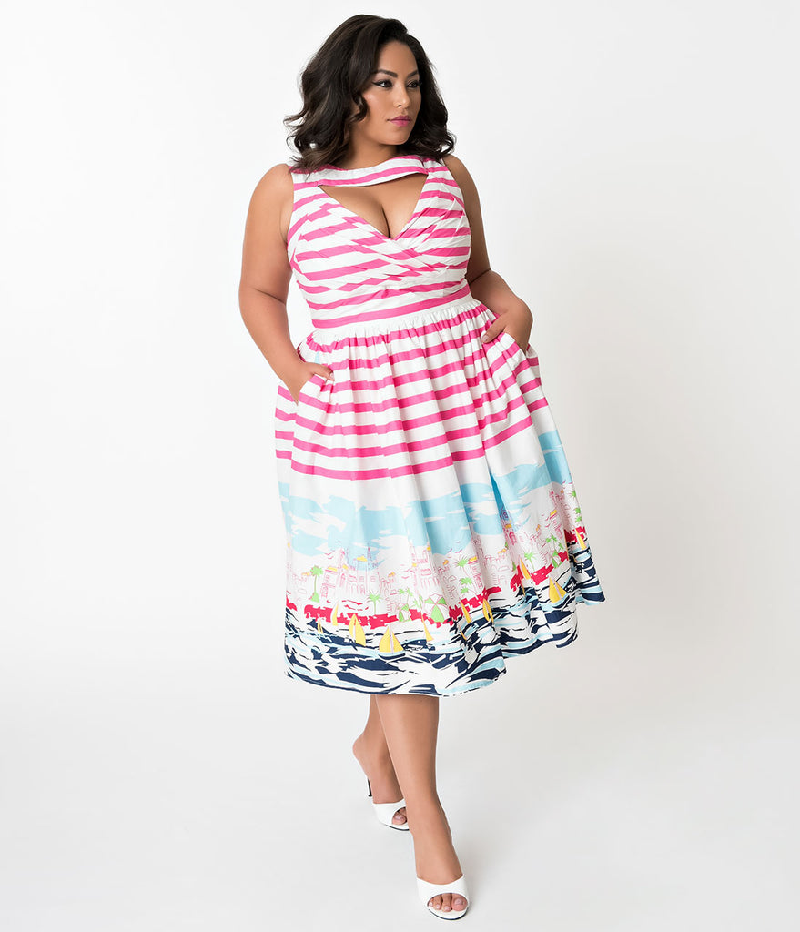 Unique Vintage Plus Size 1950s Style Pink Stripe Seaside Sleeveless Shelly Swing Dress