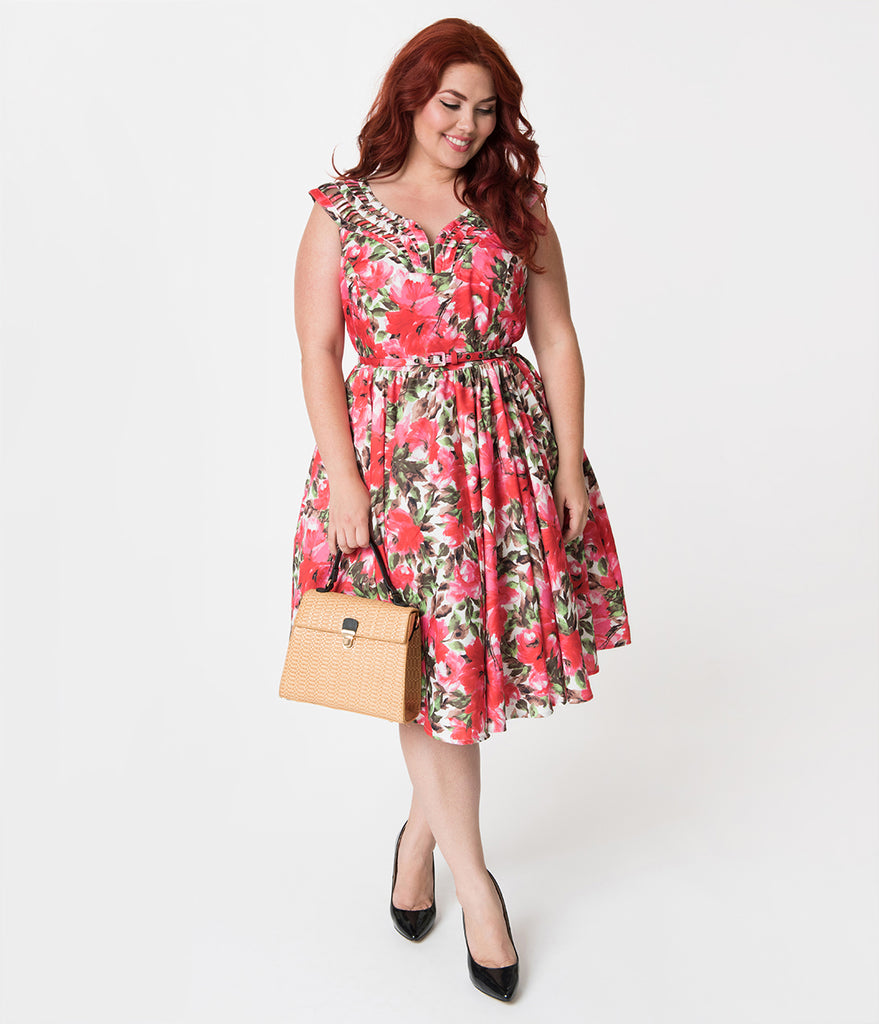 Unique Vintage Plus Size 1950s White & Pink Florals Sleeveless Olive Swing Dress