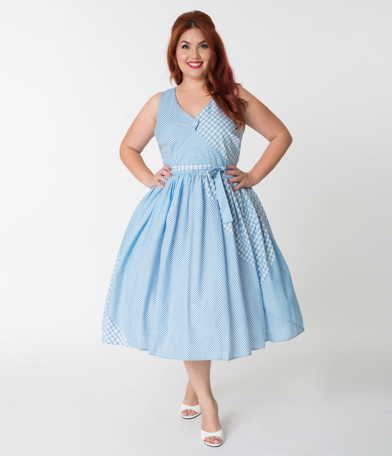 Unique Vintage Plus Size Light Blue Patchwork Patterns Lorna Swing Dress