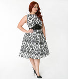 Unique Vintage Plus Size 1940s White & Black Damask Sleeveless Bella Swing Dress