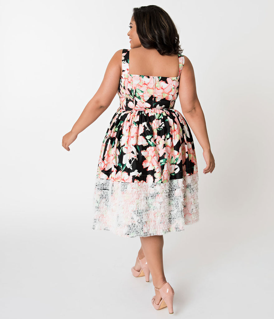 Unique Vintage Plus Size Black & Pink Floral Lace Trim Shrimpton Swing Dress