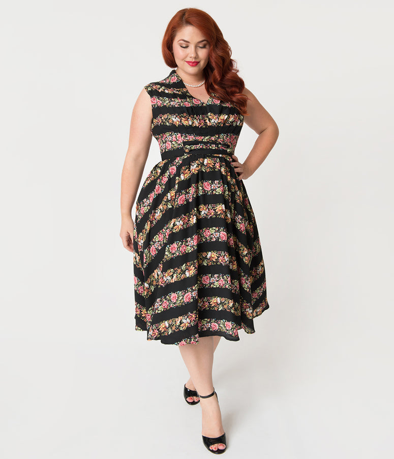 Unique Vintage Plus Size 1950s Style Black & Striped Floral Chiffon De Carlo Swing Dress