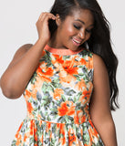 Unique Vintage Plus Size Coral Floral Print Sleeveless Detroit Swing Dress