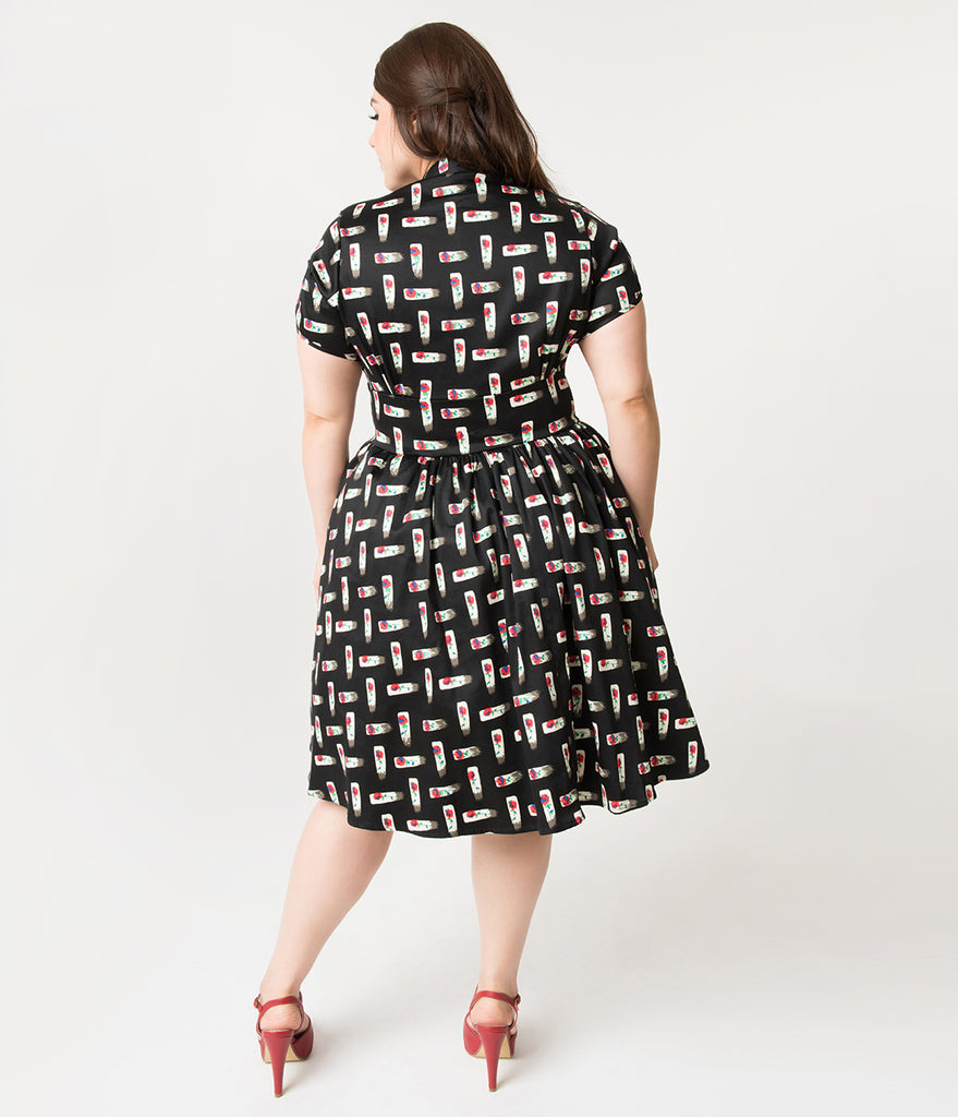 Unique Vintage Plus Size 1950s Style Black & Floral Keyhole Lizzie Swing Dress