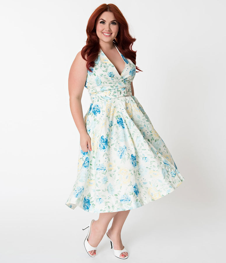 Janie Bryant For Unique Vintage Plus Size Ivory & Floral Print Halter Tarrytown Hostess Dress
