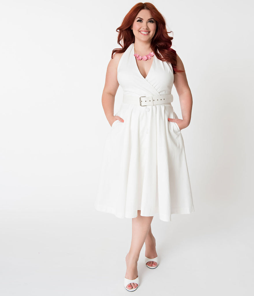 2019 year for lady- Size Plus white casual dresses