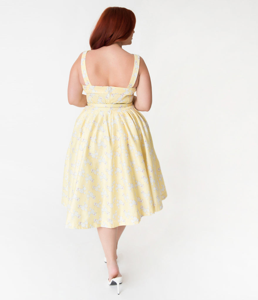 Janie Bryant For Unique Vintage Plus Size Yellow & Poodle Print Beverly Swing Dress
