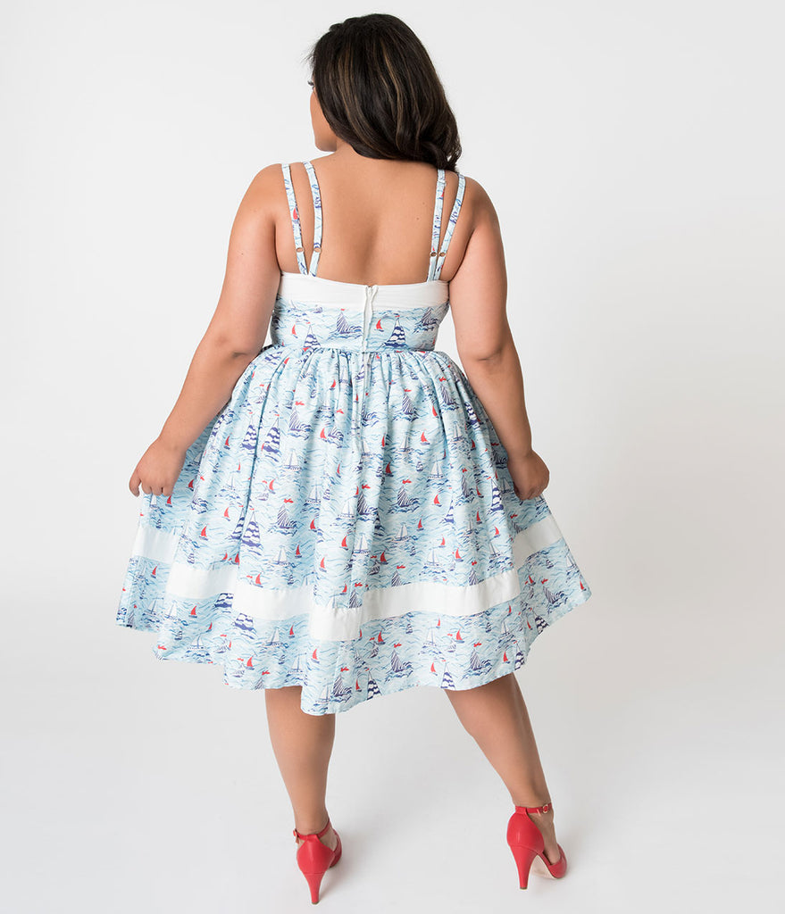 Unique Vintage Plus Size Light Blue Sailboat Print Darienne Swing Dress