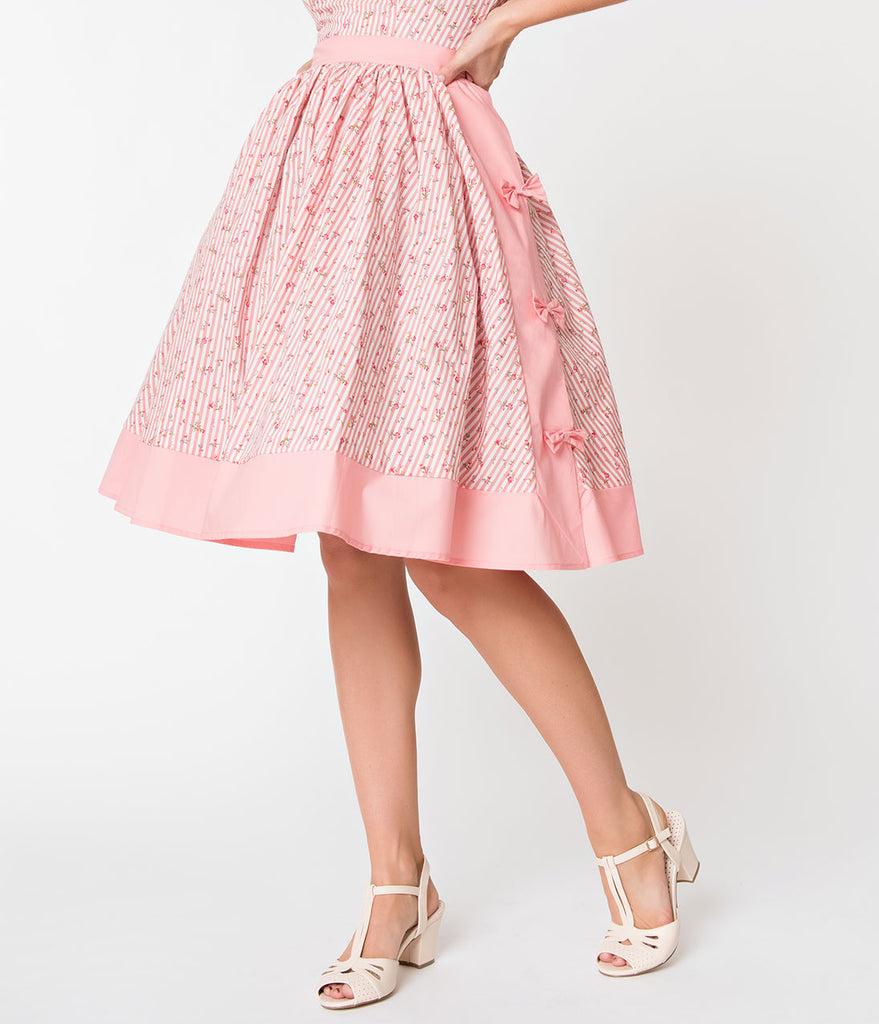 Janie Bryant For Unique Vintage Pink Striped & Floral Rye Swing Skirt