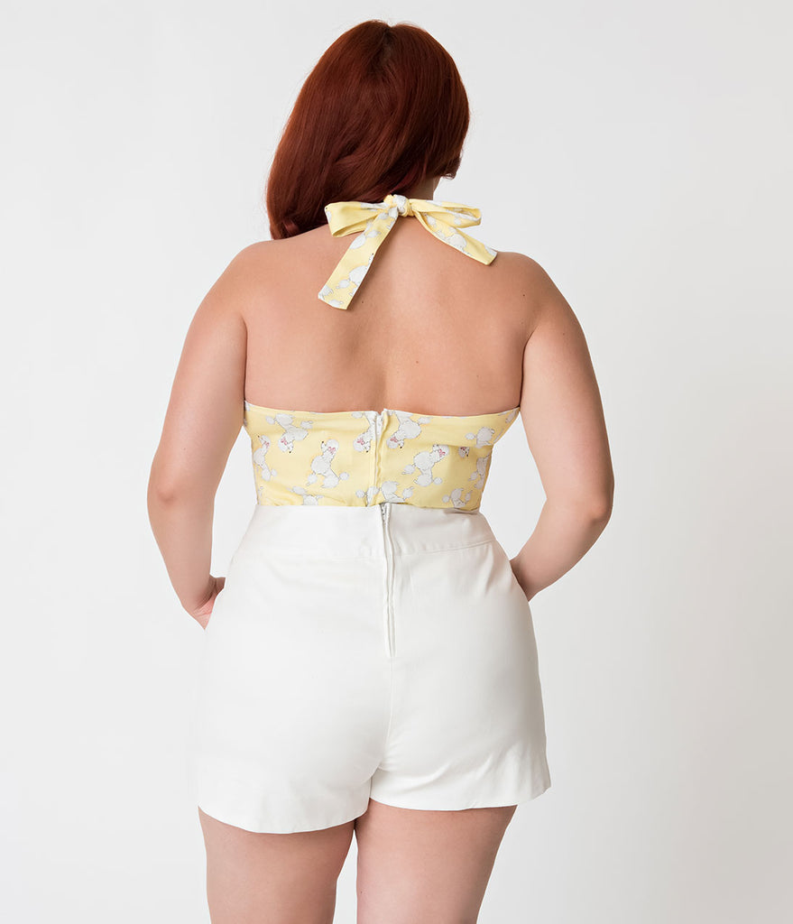 Janie Bryant For Unique Vintage Plus Size White High Waist Sardi Shorts