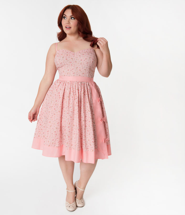 Janie Bryant For Unique Vintage Plus Size Pink Striped & Floral Rye Swing Skirt