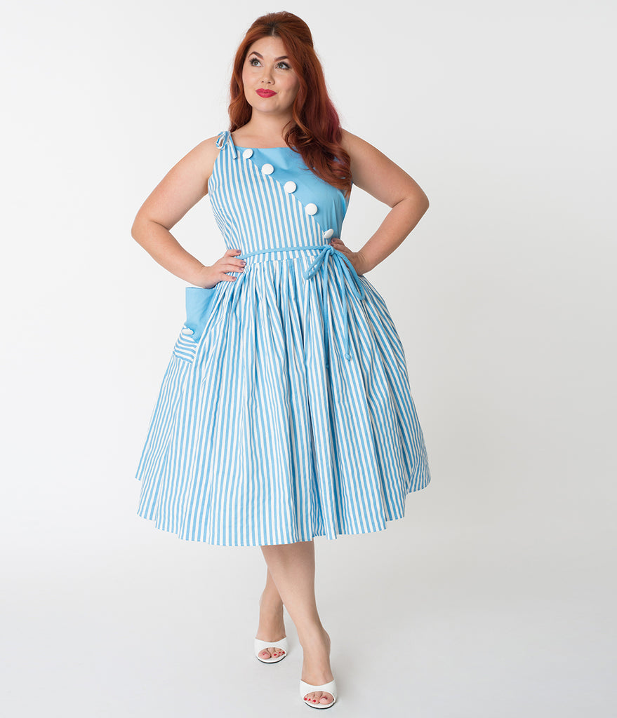 Unique Vintage Plus Size 1950s Style Light Blue & White Stripe Hamilto