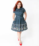 Unique Vintage Plus Size 1960s Style Midnight Blue Outer Space City Regina Shirtdress
