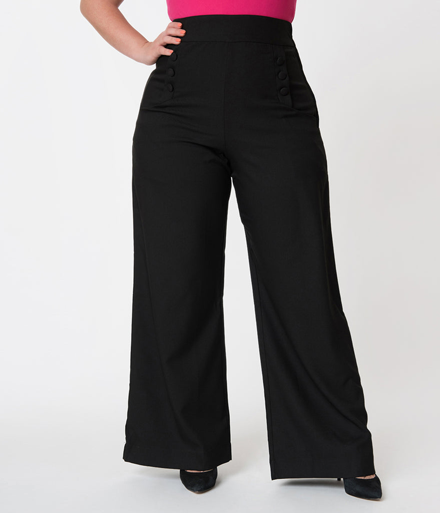 Unique Vintage Plus Size 1940s Style Black High Waist Sailor Ginger Pants