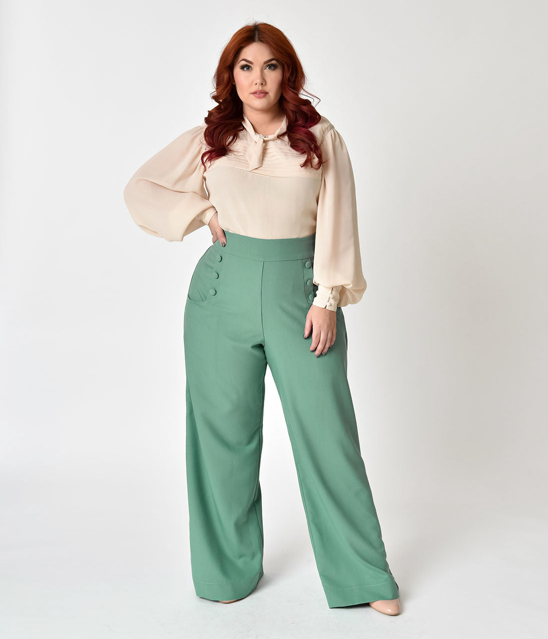 1950s Pants & Jeans- High Waist, Wide Leg, Capri, Pedal Pushers Unique Vintage Plus Size 1940S Style Sage Green High Waist Sailor Ginger Pants $62.00 AT vintagedancer.com