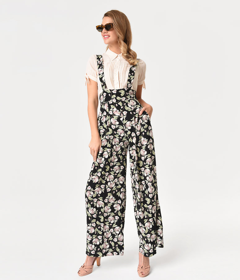 Unique Vintage Black & Floral High Waist Wide Leg Rochelle Suspender Pants