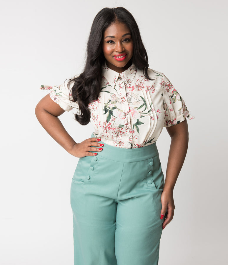 Unique Vintage Plus Size Cream & Botanical Floral Print Chiffon Colvin Blouse
