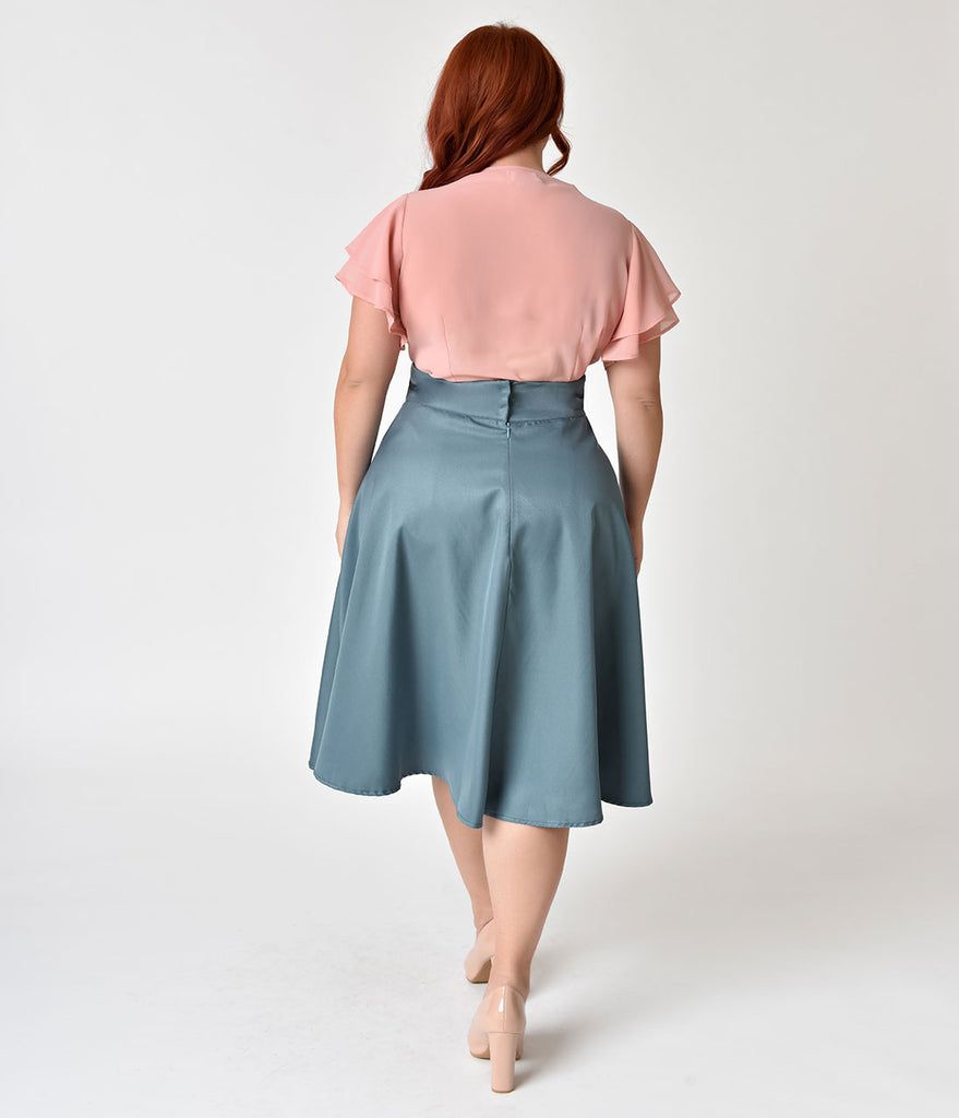 40e93b61e88ce ... Unique Vintage Plus Size Retro Style Sage High Waist Vivien Swing Skirt  ...