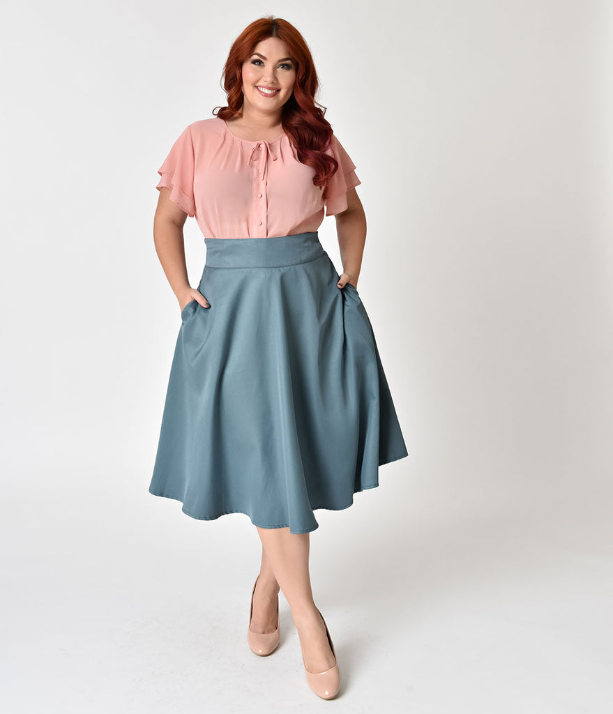 Unique Vintage Plus Size Retro Style Sage High Waist Vivien Swing Skirt