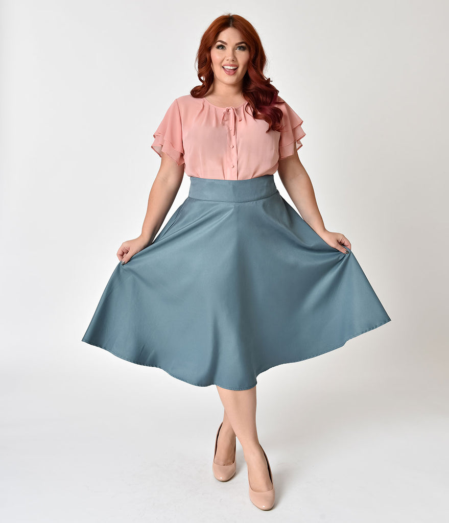 0b0d6fc3cb10b ... Unique Vintage Plus Size Retro Style Sage High Waist Vivien Swing Skirt