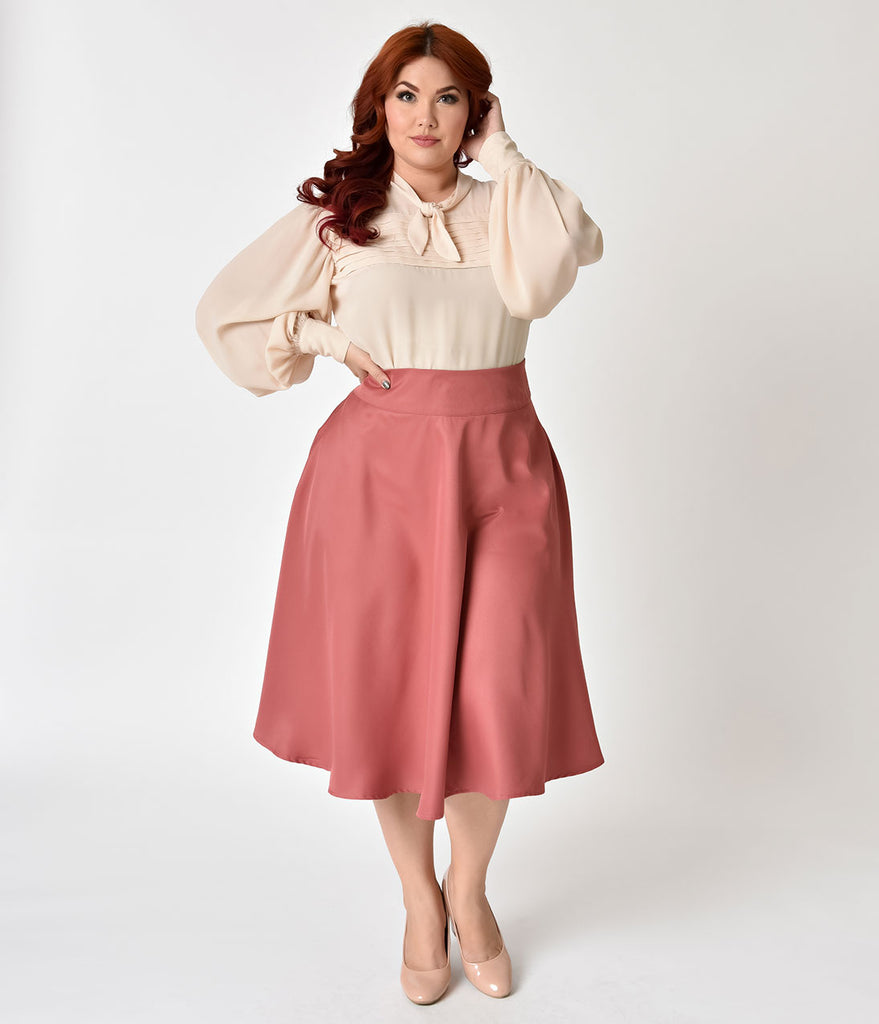 Unique Vintage Plus Size Retro Style Dark Rose High Waist Vivien Swing Skirt