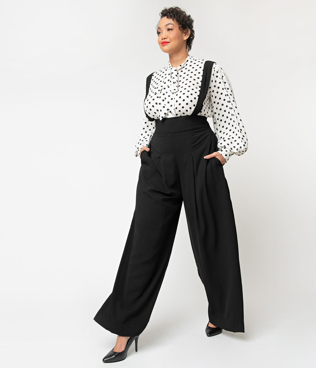 1940s Swing Pants & Sailor Trousers- Wide Leg, High Waist Unique Vintage Plus Size Black High Waist Wide Leg Rochelle Suspender Pants $64.00 AT vintagedancer.com