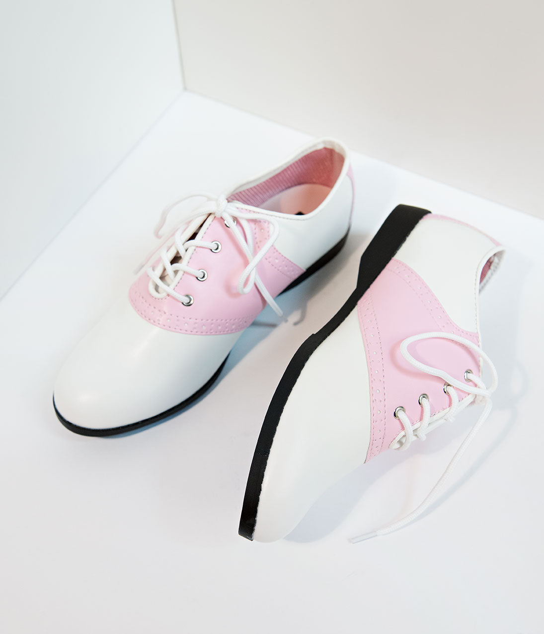 1950s Style Shoes | Heels, Flats, Boots Pink  White Classic Lace Up Saddle Shoes $52.00 AT vintagedancer.com