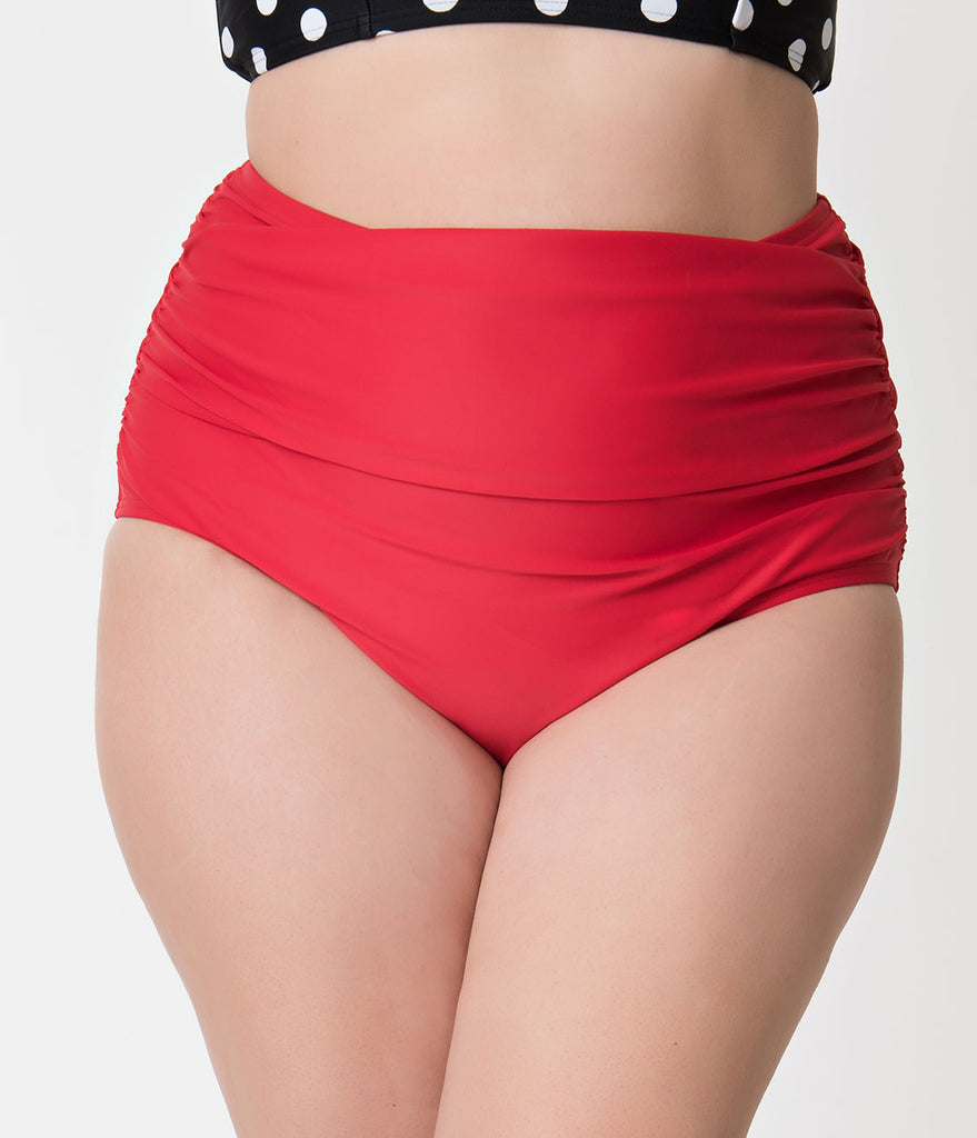 Unique Vintage Plus Size Red Ruched Georgiana High Waist Swim Bottoms