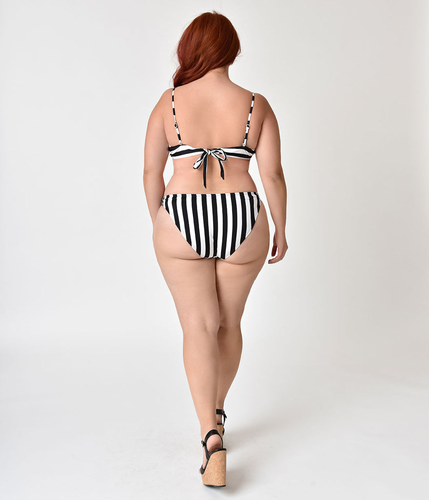 Unique Vintage Plus Size Black & White Stripe Sexy High Leg Jacinda Swim Bottoms