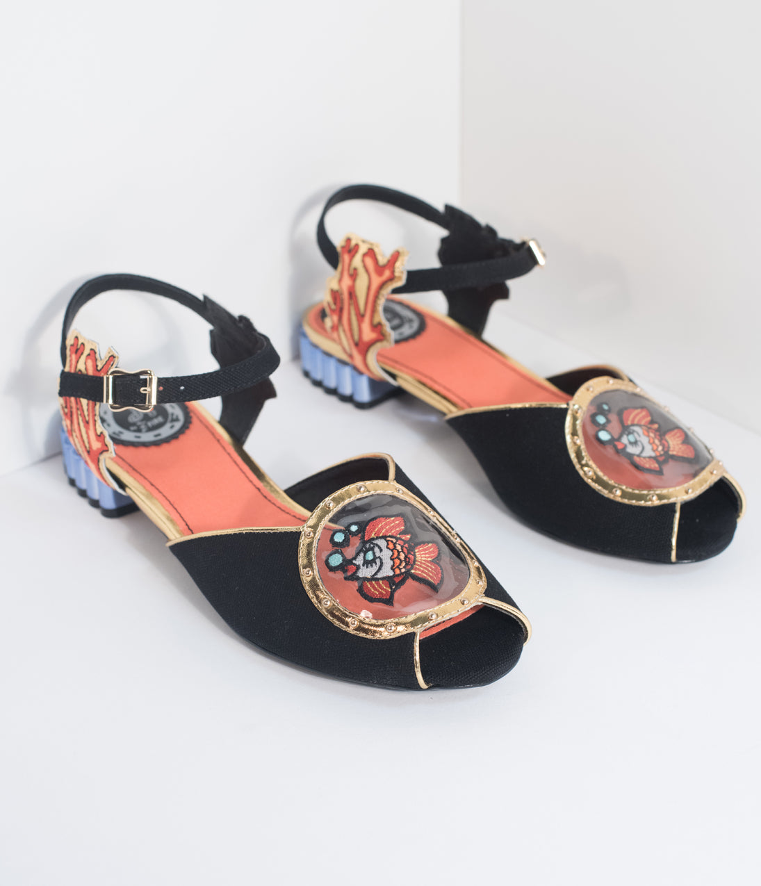 1950s Style Shoes Miss L Fire Black Nautical Peep Toe Ariel Sandals $120.00 AT vintagedancer.com
