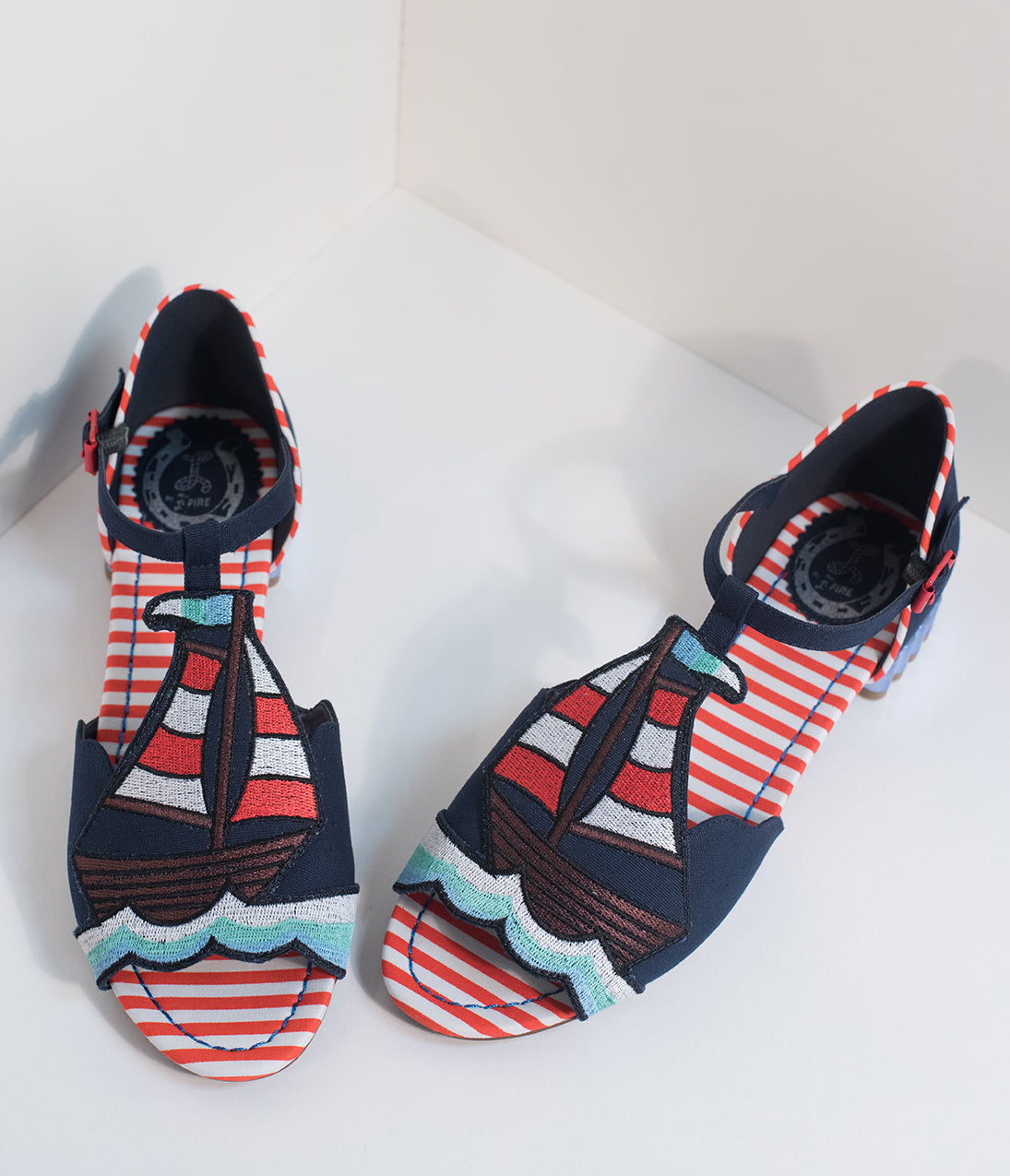 1950s Style Shoes Miss L Fire Navy Blue Nautical Peep Toe Regatta T-Strap Sandals $120.00 AT vintagedancer.com