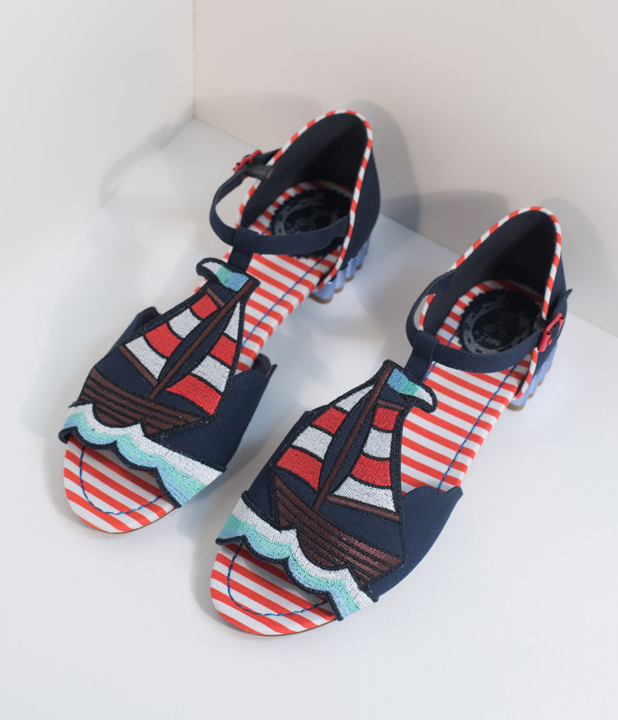 Miss L Fire Navy Blue Nautical Peep Toe Regatta T-Strap Sandals