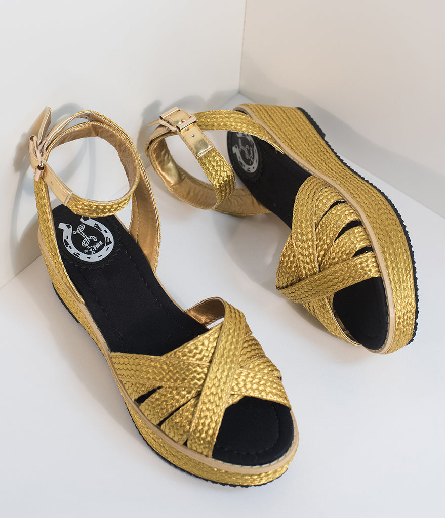 Miss L Fire Gold Woven Raphael Wedge Sandals